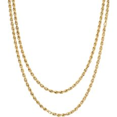 14 kt - Yellow gold twisted link necklace. Thanks to its length, the necklace can be worn double - Length: 87.5 cm