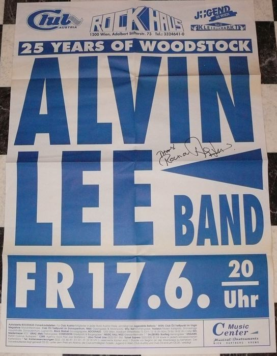 Original autograph Alvin Lee (Ten Years After) on Poster