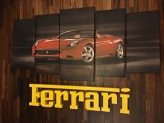 Art composition. Images + FERRARI 3D logo. Ferrari advertising.