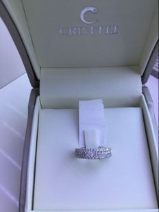 """Fabulous shank ring by CRIVELLI, """"Riviera"""" model with diamonds for 1.00 ct, colour: F, clarity: VVS1"""