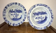 A set of blue/white deep dishes with Pagodas in landscape – China – 18th century