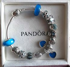 pandora bracelet heart with 12 charms - theme 'mother and son' - 925 silver - length 20 cm