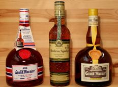 "3 bottles: 1. Grand Marnier ""Paris-France"", Limited Edition + 2. Mandarine Napoleon (rare bottling) + 3. Old Grand Marnier 'Cordon Jaune' Liqueur, 2x700ml/70cl,"