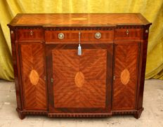 A Louis XVI breakfronted rosewood, silkwood and marquetry sideboard - The Netherlands - circa 1800
