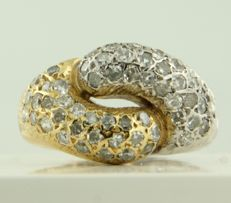 18 kt bi-colour gold ring set with 48 single cut diamonds, approx. 1.00 carat in total ***NO RESERVE PRICE***