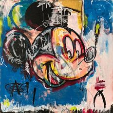 Dillon Boy - Mousquiat - Mickey Mouse Skull Graffiti Pop Art - Jean-Michel Basquiat