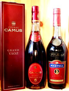 2 old bottles Top Cognac: 1. Martell VSOP Medaillon Cognac + 2. Camus Grand VSOP  Cognac, Orig. Box - 2x70cl, 40%vol.