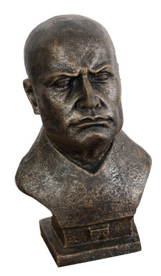 Cast iron Duce half bust with bronzed antiqued finishing 19x22x33 cm