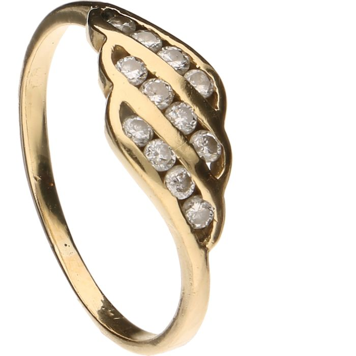 14 kt yellow gold ring set with 12 brilliant cut diamonds of approx. 0.12 ct in total - Inner size 15 mm