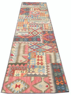 Different Pieces Hand Knotted Patchwork Kilim Carpet Runner Rug 393 cm x 83 cm