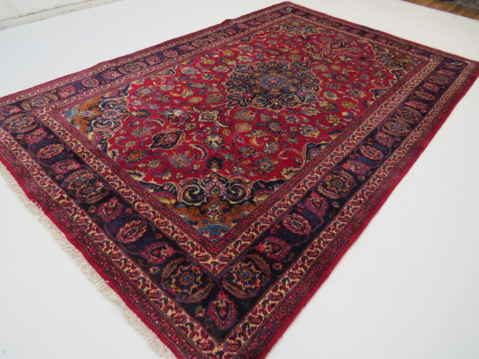 Dreamy beautiful Persian carpet Mashad/Iran 303 x 195 cm semi-antique Top quality ***top clean*** signed oriental carpet