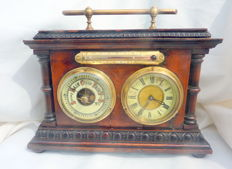 Table barometer with clock and thermometer