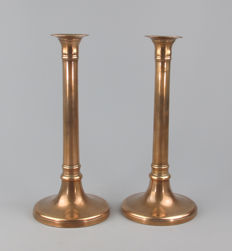 Antique set of brass candlesticks -Flemish - circa 1830