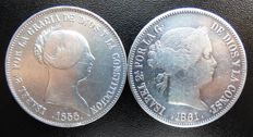 Spain – Lot of two coins of 20 reales – Isabel II – 1x20 reales –1855 – Seville – 1x20 reales 1861 – Madrid