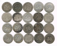 Germany - 20 x 50 Pfennig 1875-1876 - silver
