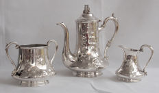 Impressive Antique Silver Plated 3 Piece Coffee Set - Late 19th Century