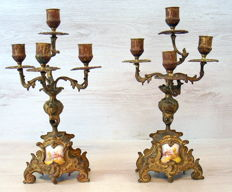 Pair of gold plated brass candlesticks with porcelain plaques - France - ca.1870