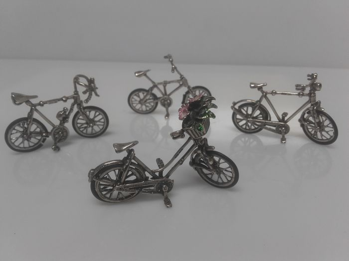 4 Miniature bicycles, (bmx, racing, Dutch, city) - Silver 800/1000