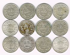 Switzerland - 12 x 2 Francs 1943-1967 - silver