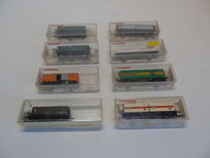 Fleischmann N - Set of 8 diverse wagons mostly of the DB