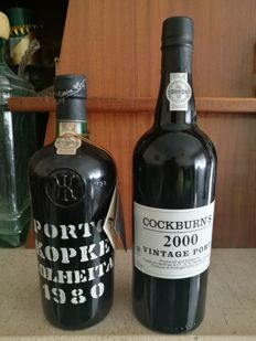 1980 Colheita Port Kopke - bottled in 1989 & 2000 Vintage Port Cockburns - 2 bottles total