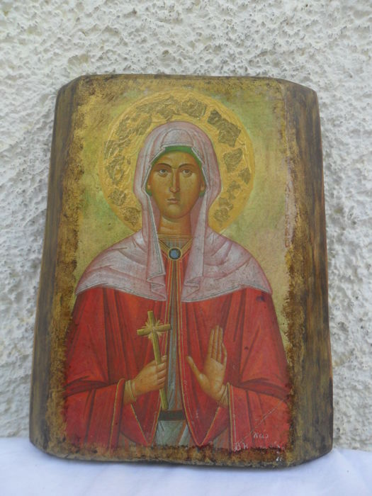 Cypress Wood - Icon Holy Megalomartis Christina - 20th century