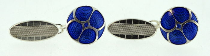 Sterling silver and blue enamel mens cufflinks, Possibly London Cufflink Company