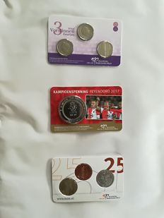 Netherlands – Medal Feyenoord champion 2017 + 3 queens kwartjes + day of the coin 2017 in coin cards