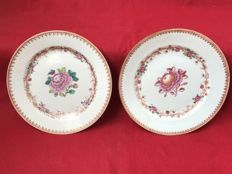 2 famille rose plates - China - Qianlong period (1736-1795)