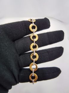18ct Yellow and White Gold Heavy Solid Bracelet with Diamonds (0.52ct H/SI)