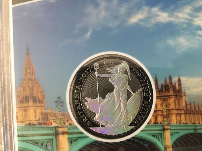 Great Britain - 2 Pounds 2017 Britannia Hologram & Ruthenium plated edition - 1 oz silver