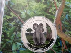 Australia - 1 Dollar 2017 'Koala' coloured edition - 1 oz silver