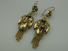 Gold dangle earrings/hat bells - regional jewellery - around 1930