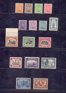 Belgium 1915/1920 - series Veurne without 5 francs - OBP 135/146 and 148/149