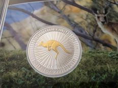Australia - 1 Dollar 2017 'Kangaroo' partial gold plated edition - 1 oz silver