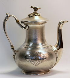 Christofle - Antique 19th Century silver plate coffee pot with initials, Circa.1880