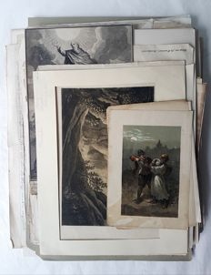 Over 100 prints, drawings by various artists (18th - 20th century) - Various subjects, landscape, religion, history, architecture, Portraits, animals, Foreign landscapes and other.. - 18th 20th century