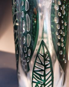 Val-Saint-Lambert tall vase with leaf design, signed, frosted glass, Liège, Belgium, 20th century