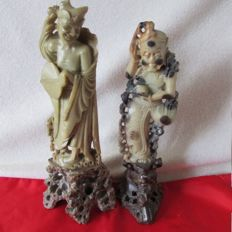 Two antique carved soapstone statues – China – circa 1920s/1940s