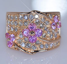 2.47 ct Pink Sapphires and Diamonds ring - – Size: 14.5- No reserve price!