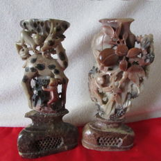 Two beautiful, antique carved soapstone sculptures – China – circa 1920s/1940s