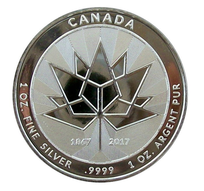 Canada - Commemorative coin '150 Years Canada - Maple Leaf/Goose' with security feature - 1 oz silver