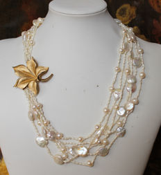 Pearl necklace and brooch by Trifari