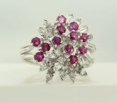 18 kt white gold ring set with ruby and baguette shape and single cut diamonds, approx 0.70 ct in total, ring size 18.25 (57)