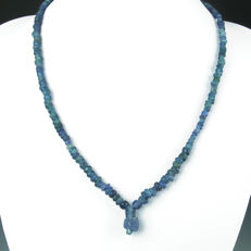 Necklace with Roman blue glass beads - 50,5 cm