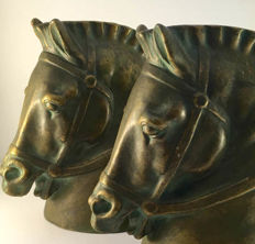 Large Italian 'Zaccagnini' Fabulous Bronzed Horse Bookends