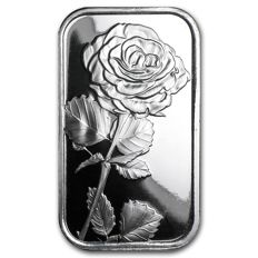USA - 1 oz 999 fine silver bar - Rose - reverse has space for engraving