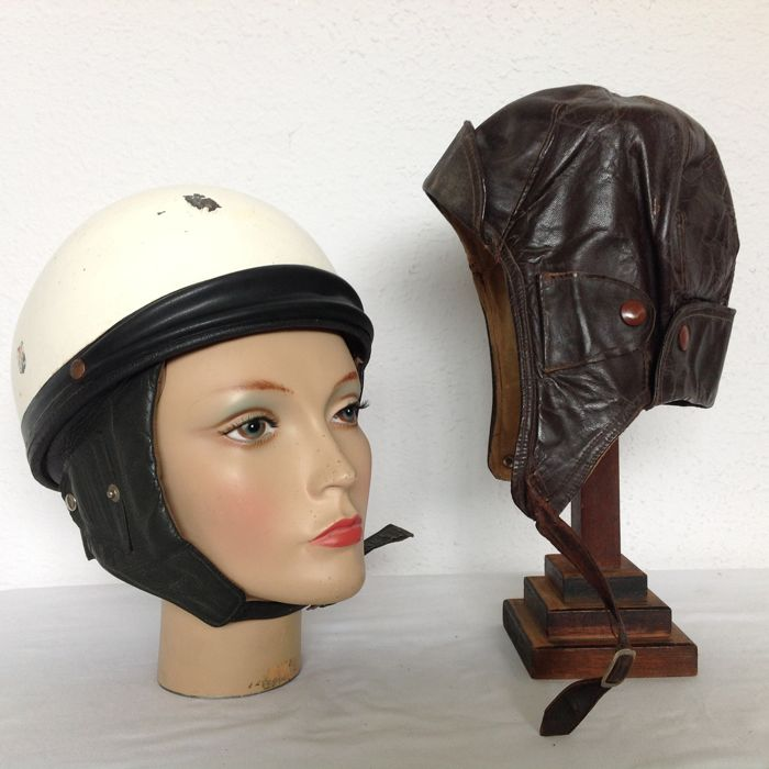 Old motorcycle helmet and brown leather drivers hat - size 60 and size 55