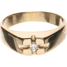 14 kt yellow gold ring set with diamond of approx. 0.10 ct