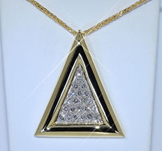 Diamond triangle necklace - No reserve price!